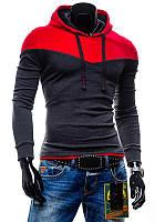 Трикотажное двухцветное мужское худи red