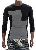 Мужская черная футболка с длинным рукавом