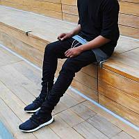 Хлопковые черные зауженные брюки