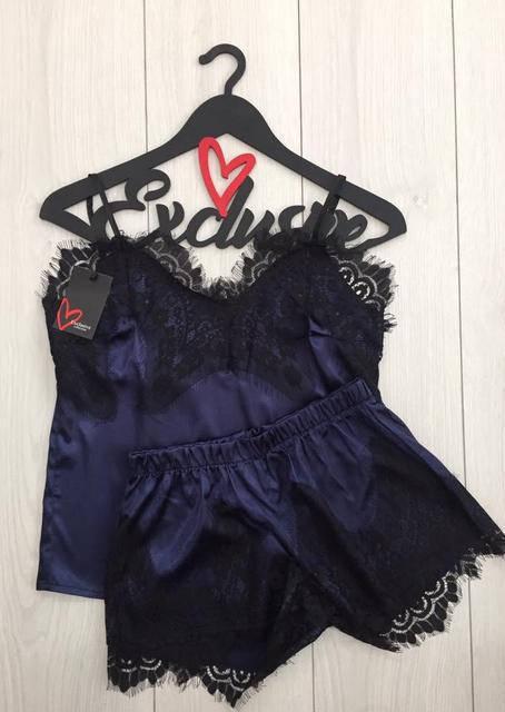 Пижама женская атласная  майка и шорты 033 темно синий