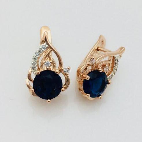 Серьги Fallon Лиа синие позолота 18К