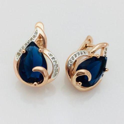Сережки Fallon Рената сині позолота 18К