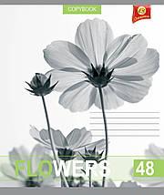 """Тетрадь 48 листов ТЕТРАДА """"Белые цветы"""" клетка, фото 2"""