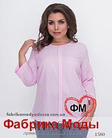 Блуза прямого кроя с рукавом ¾ от ТМ Минова батал официальный сайт р. 42-56