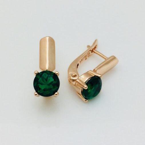 Серьги Fallon Статные зеленые позолота 18К