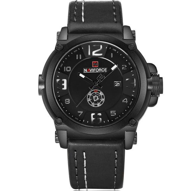 Наручные часы NAVIFORCE 9099 мужские кварцевые водонепроницаемые часы с PU кожаным ремешком Черный (SUN0790)