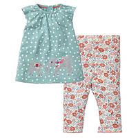 Jumping Beans летний костюм 2 в 1 для девочки Rabbits. Размер 2 года, 3 года, 5 лет, 6 лет, 7 лет