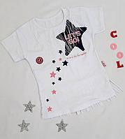"""Детская футболка """"Let's go"""" на девочку, 5-8 лет, белый"""