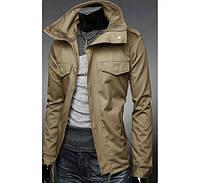 Куртка мужская  цвета хаки с накладными карманами и погонами  Размер S