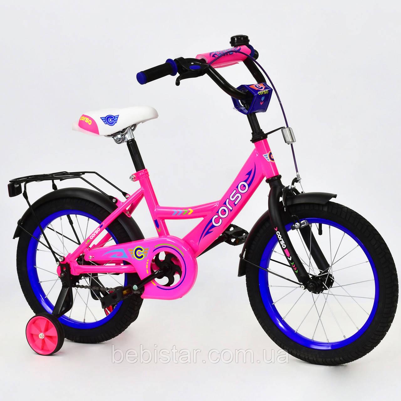 """Двухколесный велосипед Corso 16"""" детям 5-6 лет цвет розовый"""