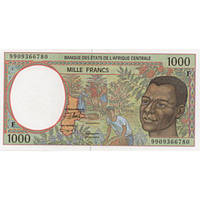 Central Africa CAR Центр Африка ЦАР - 1000 Francs 1999 UNC letter F Pick 302Ff