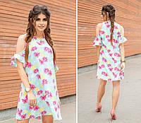 Летнее легкое платье с открытыми плечами цветочный принт