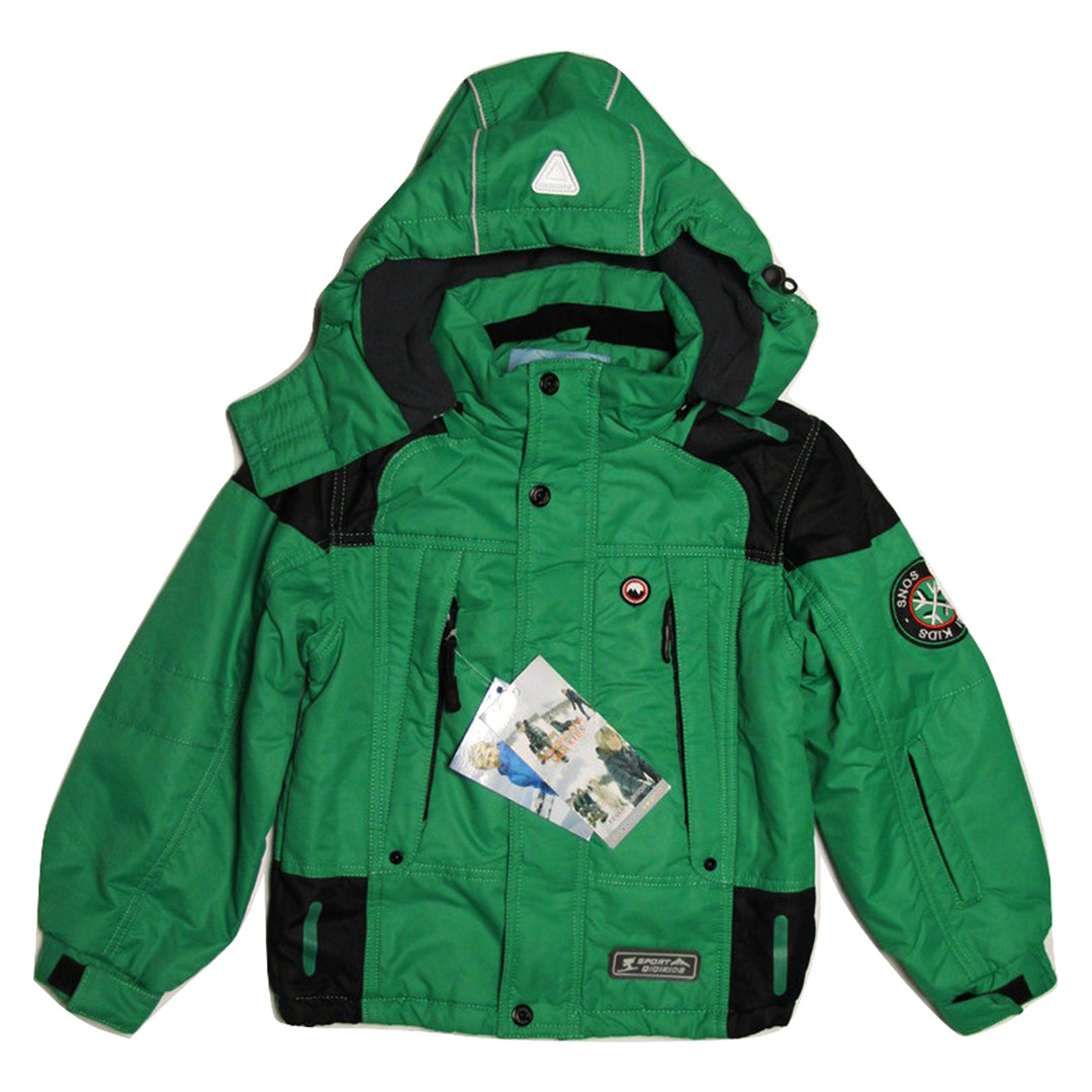 Термо куртка демисезонная для мальчика 5 лет на флисе зеленая