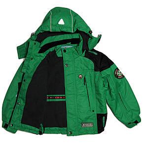 Термо куртка демисезонная для мальчика 5 лет на флисе зеленая, фото 2