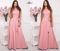 Платье летнее в пол с пышной юбкой без рукава и поясом бантом разные цвета Smmil2404