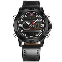 Наручные часы NAVIFORCE 9097 мужские кварцевые водонепроницаемые часы с PU кожаным ремешком Черный (SUN0794)