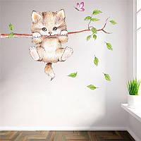 Наклейка виниловая Котик на ветке 3D декор, фото 1