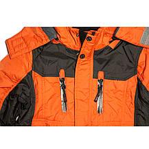 Термо куртка демисезонная для мальчика 5 лет на флисе терракотовая, фото 2