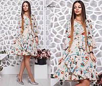Платье красивое нежное на запах с пышной юбкой с оборками много расцветок Smmil2405