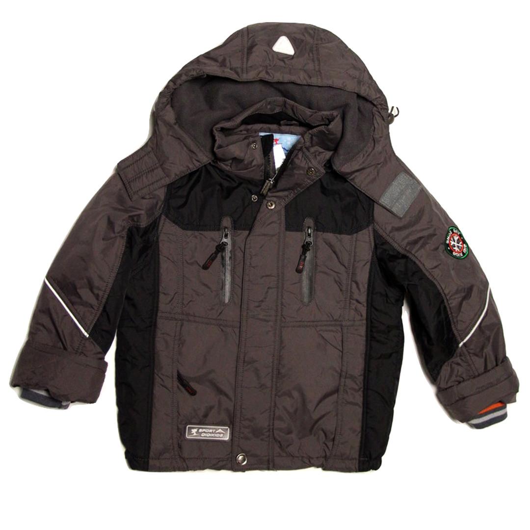 Термо куртка демисезонная для мальчика  от 4 до 7 лет на флисе серая
