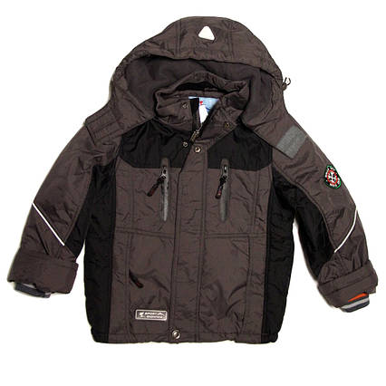 Детская демисезонная курточка для мальчика 4-6 лет на флисе серая, фото 2