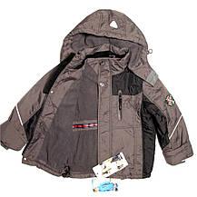 Термо куртка демисезонная для мальчика  от 4 до 7 лет на флисе серая, фото 2