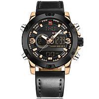 Наручные часы NAVIFORCE 9097 мужские кварцевые водонепроницаемые часы PU кожаным ремешком Золотистый (SUN0795)