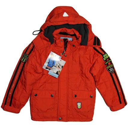 Термо куртка демисезонная   для мальчика  6 лет  стеганая на флисе красная, фото 2