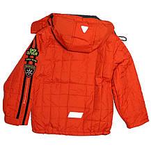 Термо куртка демисезонная   для мальчика  6 лет  стеганая на флисе красная, фото 3