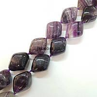 Бусы из натурального камня флюорита, длина изделия около 48 см, натуральные камни, колье, ожерелье, фиолетовый с зелеными
