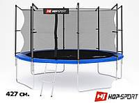 Батут с сеткой и лестницей Hop-Sport 14ft (427cm) blue с внутренней сеткой для дома и спортзала, Львов