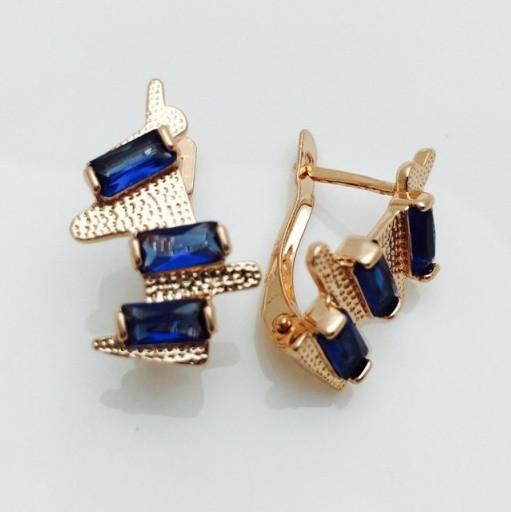 Серьги с синим камнем, 00112
