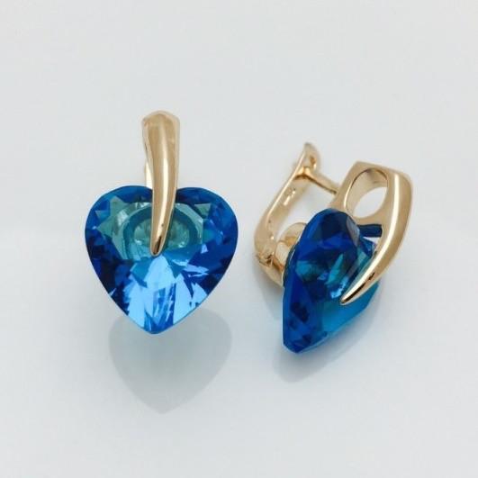 Серьги сердце с синим камнем, 00123