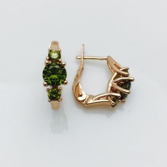 Серьги с зеленым камнем, 00093