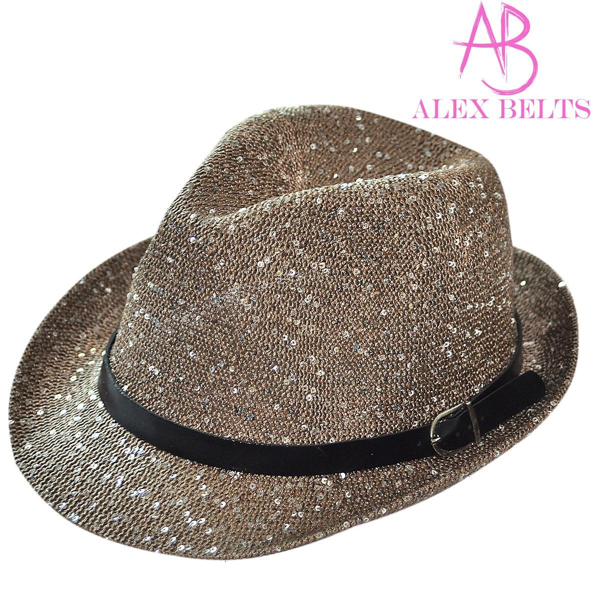 Шляпа  женская (коричневая) с пайетками р.56-58 см