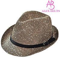 Шляпа  женская коричневая с пайетками р.56-58 см -купить оптом в Одессе