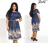 Женское платье с вышивкой и открытыми плечами. размеры -50-52.54-56 ткань -летний джинс +вышивка