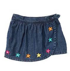 Шорты-юбка из легкого денима с вышитыми цветочками (Размер 4Т) Сrazy8 (США)