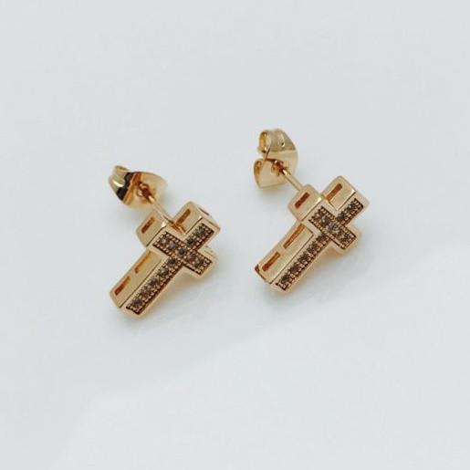 Серьги гвоздик кресты, 00249