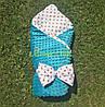 Конверт-одеяло минки на съемном синтепоне бирюзовый