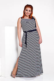 ДС482 Платье длинное в полоску (размеры 42-56)