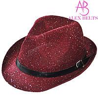 Шляпа женская бордовая с пайетками р.56-58 см-купить оптом в Одессе