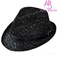 Шляпа женская черная с пайетками р.56-58 см-купить оптом в Одессе