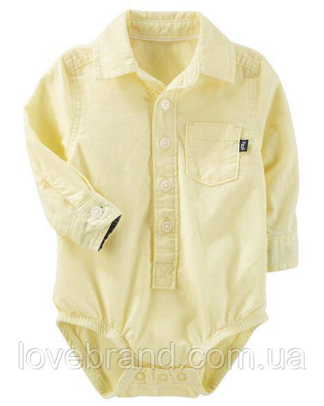 "Боди-рубашка для мальчика OshKosh желтая ""Стиль"" 18-24 мес/81-86 см"