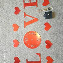 Часы зеркальные настенные 3D LOVE , часы наклейки с сердечками, фото 2