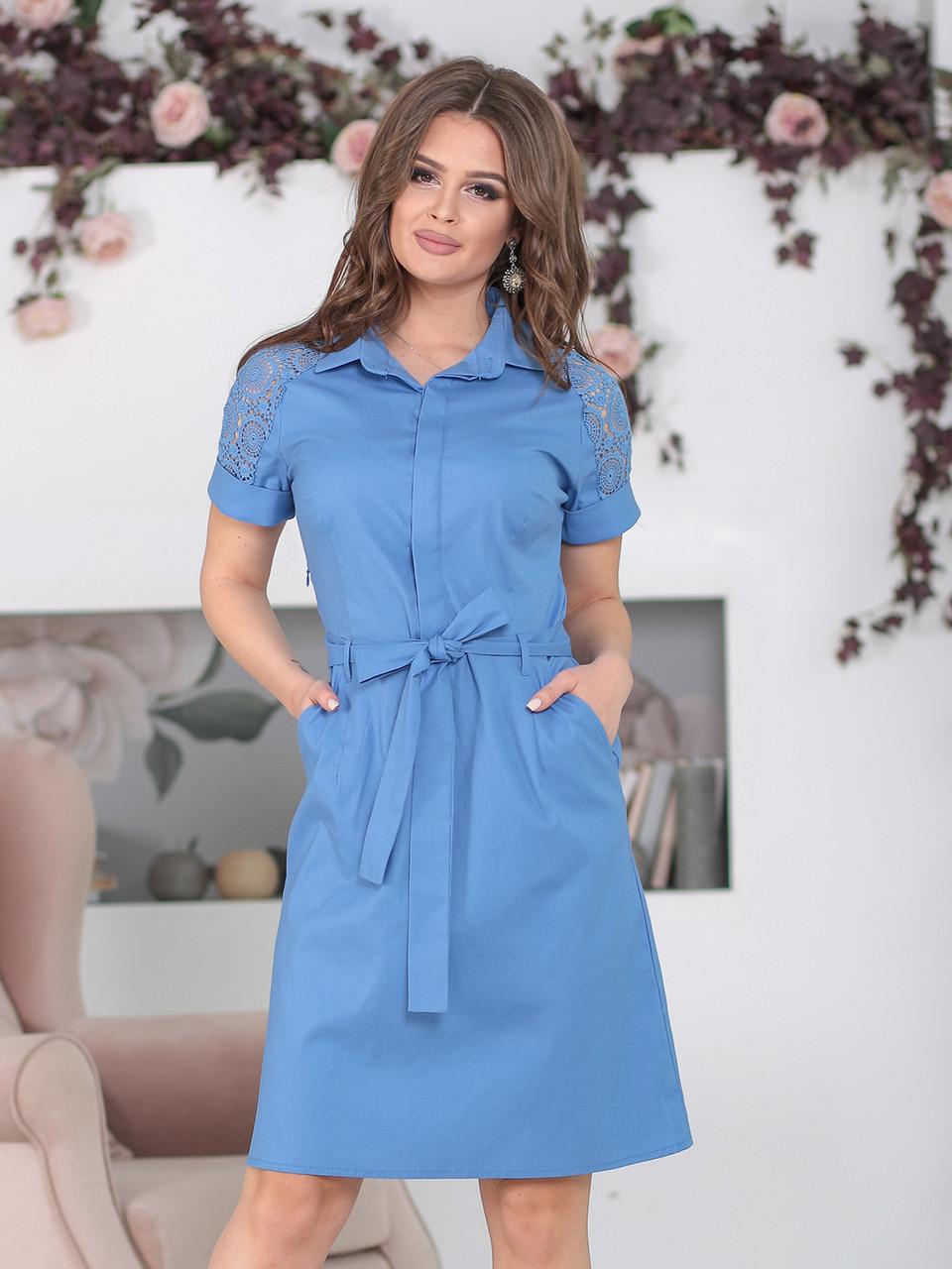 Платье с воротником Алика в цвете джинс