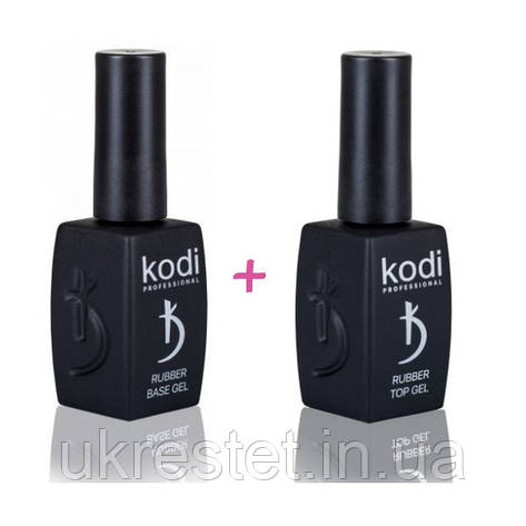 Набор Kodi Rubber Base Gel 12 мл. + Kodi Rubber Top Gel 12 мл., фото 2