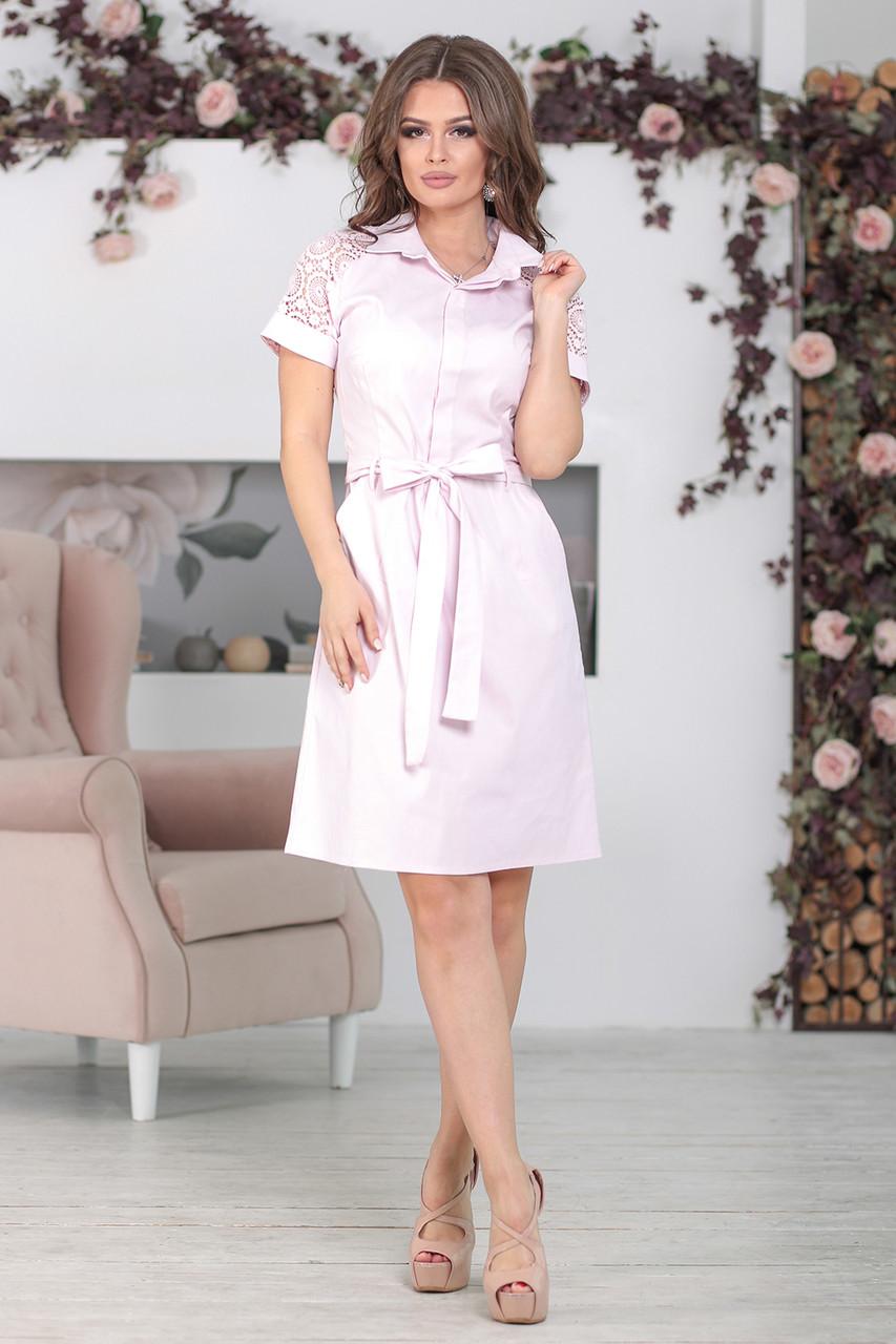 Платье с воротником Алика розовое