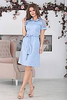 Платье с воротником Алика голубое, фото 1