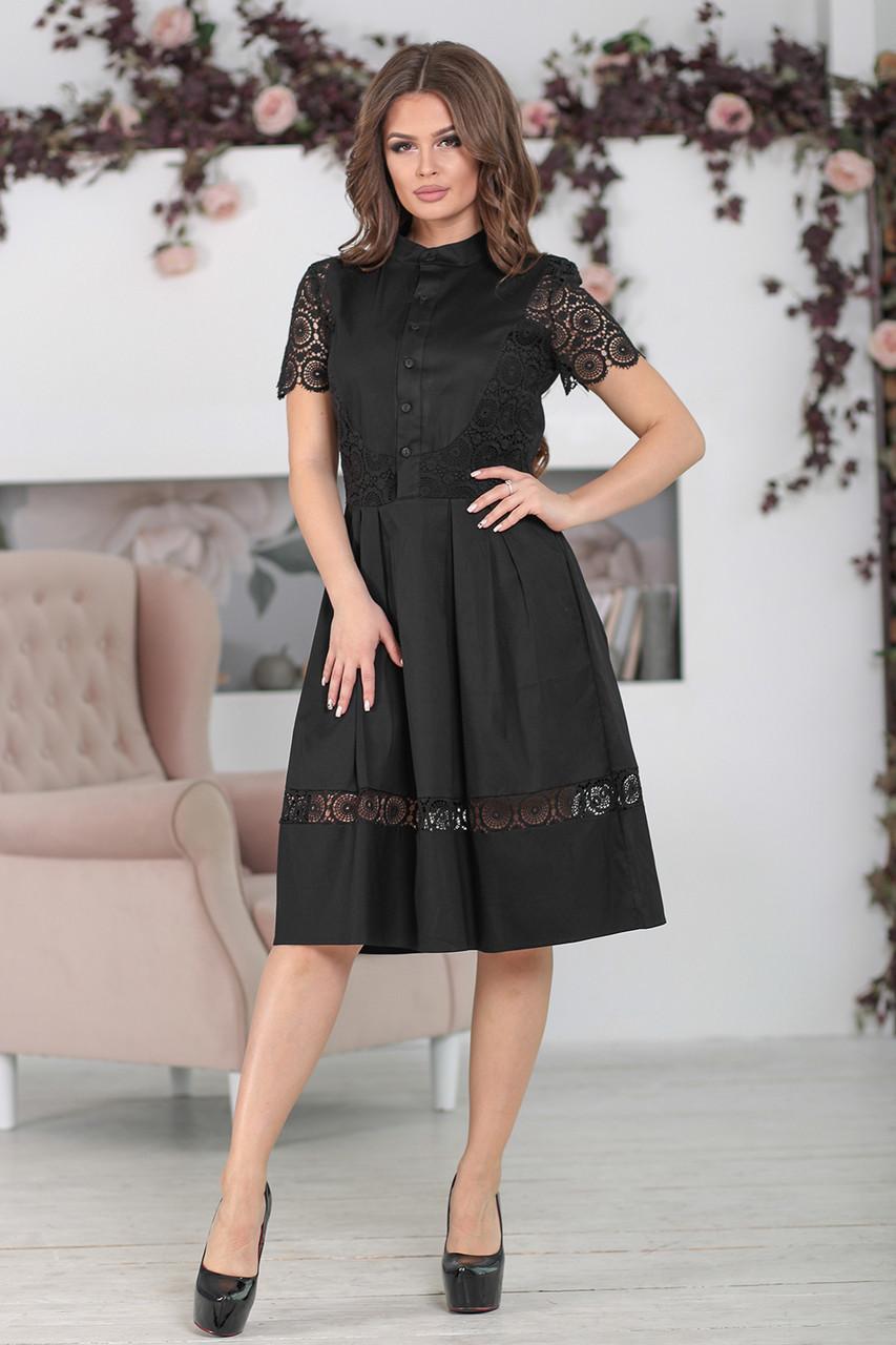 Черное Платье с кружевом Вилора - LILIT ODESSA - женская одежда - опт - розница  в c920b4d3f19